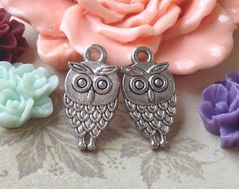 9 x 18 mm Tibetan Silver Owl Charm Pendants (.am)