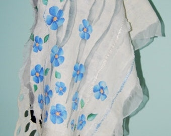 White and blue  nuno felted shawl. Felted scarf. Painted flowers. Hand painted silk shawl