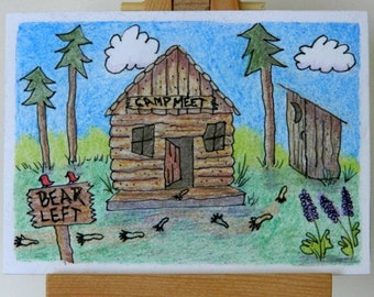 CAMPING ACEO Colored Pencil and Ink Folk Art Hunting Humor Artist Trading Card Original