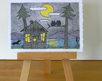 ORIGINAL DRAWING ACEO - Camping Aceo, Original Colored Pencil and Ink, Small Format Art, Camp Moon Rise, Log Cabin, Owls, Loon