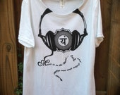 Music is in the Heart Chakra and Headphones Womens size Large Screenprinted Organic Blend Tshirt - Handmade by UniverSoulWear