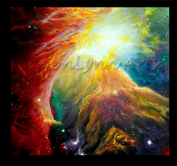 Items similar to Original Galaxy Orion Nebula Painting ...