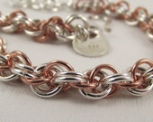Argentium Double Chain with Copper chainmaille Bracelet