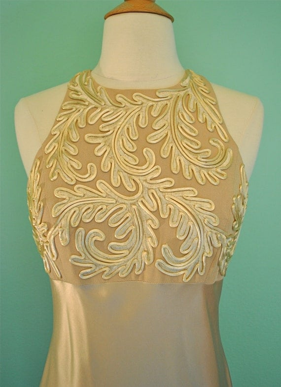 30s Style Full Length Dress in Taupe with Filigree Applique Detailing Very Old Hollywood Glamour
