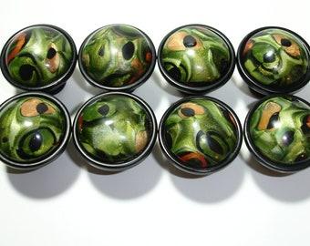 Unique Knob Set of 8 Outrageous Cabinet Knobs in Olive, Black, Tan u0026 Rust  Unique AF152