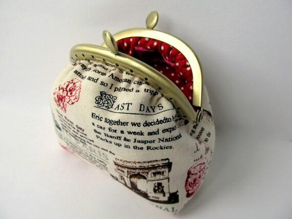 Coin purse Neutral Red Travel journal Paris New York Manhattan London Rome Change purse Kiss lock Clasp purse