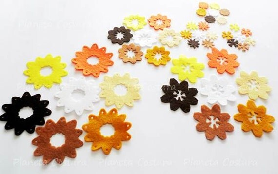 felt flowers in colors brown, white, orange and cream, 42pcs, for bouquets, brooches, crafts, hair ribbons