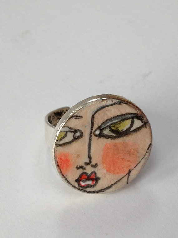 Art Eye Candy Original Hand Painted Adjustable Ring by Rachelle Panagarry