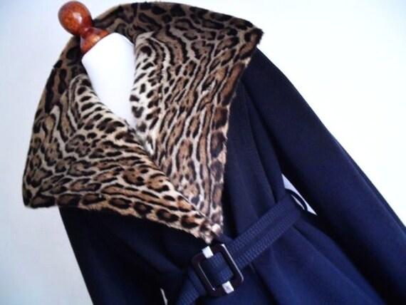 JEAN PATOU Paris . The Spotted Gem . Couture Wool Coat & Belt . Genuine Cat Fur Humongous  Collar Super Rare