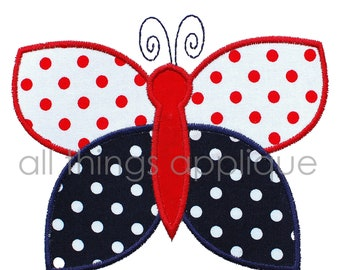 Butterfly Machine Embroidery Applique Design - 4th July Applique - INSTANT DOWNLOAD