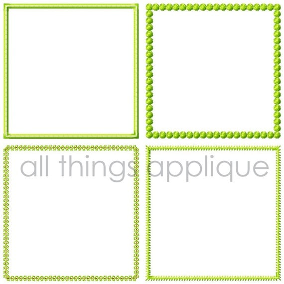 Square Patch Applique Design - 3 Sizes - 4 Stitch Styles - Vintage - Satin - Starburst - Zig Zag - INSTANT DOWNLOAD