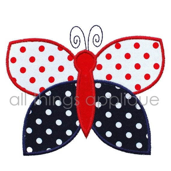 Butterfly Machine Embroidery Applique Design 4th July