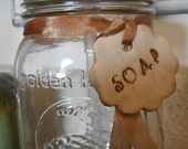 Mason Jar Soap Dispenser with Clay Tag Ornament Golden Harvest medium size