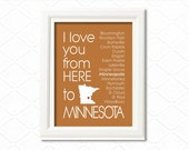 Minnesota Art State print, I Love You from here to Minnesota, 8x10 - Choose your state and background - Birthday and wedding gift