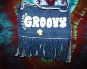 SALE...vintage handmade FEELING GROOVY denim mushroom gathering/ festival purse
