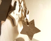 5 snowflake Christmas ornaments, white and pearl porcelain, star shaped