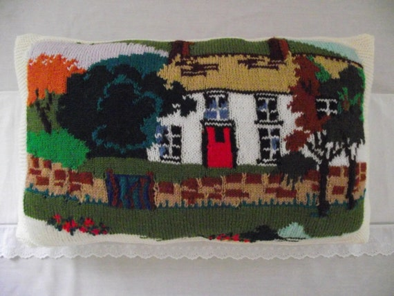 Hand Knitted large ready filled  pillow / cushion English country farmhouse  scene  24 x 15 inches