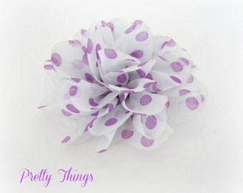 Purple Polka Dot Flower Puff -- 1 pc