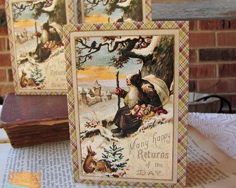 Christmas Note Cards Vintage santa with Bunnies set of 20