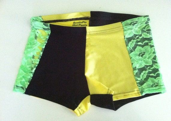 Black, yellow and neon lace Hot Pants, Size Small