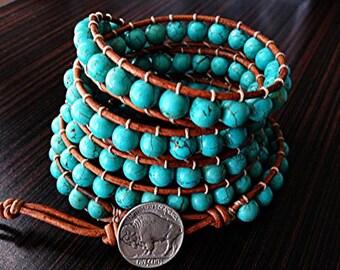 Southwestern Turquoise Beaded Leather Wrap Bracelet with buffalo clasp 5X Wrap