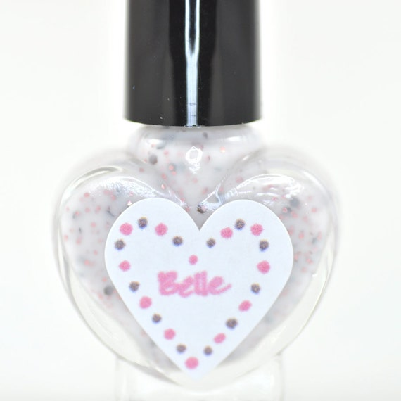 Belle Pink and Brown Glitter in White Nail Polish 5ml Mini Bottle