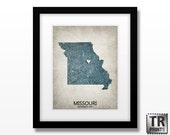 Missouri State Map Art Print - Home Town Love Heart Map - Original Custom Map Art Print Available in Multiple Size and Color Options