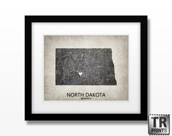 North Dakota State Map Print - Home Town Love State Map - Original Custom Map Art Print Available in Multiple Size and Color Options