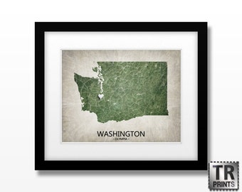 Washington State Map Art Print - Choose your City & Color - Original Personalized Geographical Map Print in Multiple Size and Color Options