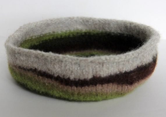 Reserved for VL Felted  bowl, sided trivet, basket liner in natural wool earth tone colors
