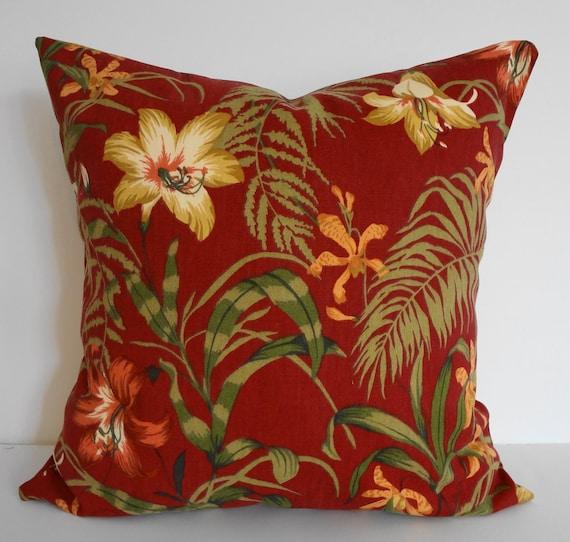 Indoor Outdoor Red Burgundy Decorative Pillow Cover Duralee