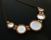 Seed Bead Mirror Necklace with Crystals, Antiqued Bronze Chain, Peyote Stitched Bezels, Statement Necklace, Gift Boxed