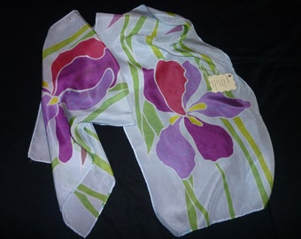 Hand Painted Silk Scarf - Bright Irises with Green Stems