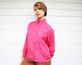 Vintage 80s Hot Pink Long Sleeve Silk Blouse