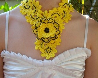 Crochet Necklace Yellow Rose Jewelry