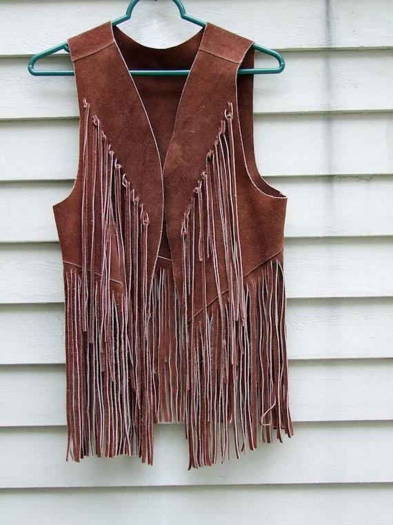 Vintage brown two tier Fringe suede vest ala 1960s