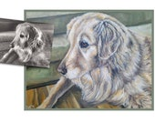custom pet portrait dog painting original oil golden retreiver dog puppy art great gift 14x18 made to order by Heather Hughes
