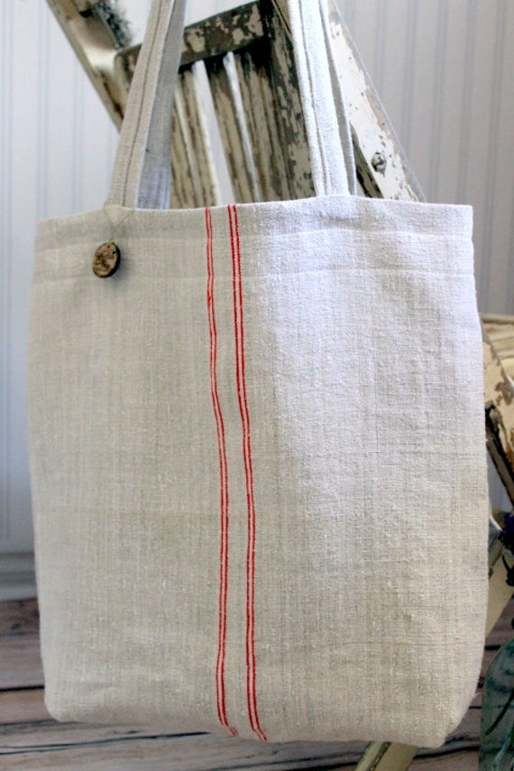 READY TO SHIP Vintage French Grain Sack Tote Bag Red Stripes