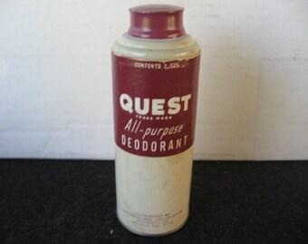 Vintage Collectible Quest All Purpose Deodorant Powder Tin- cardboard body