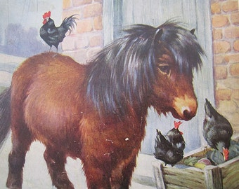 VINTAGE 1950s wood jigsaw puzzle - pony, hens, farmyard, winter, wooden