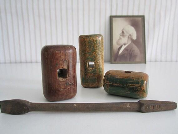 ANTIQUE industrial wood handles, screwdriver handles and bit - set of 3