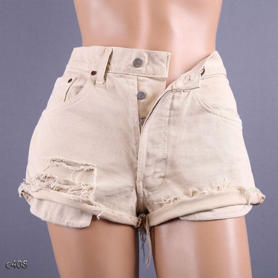High Waisted Denim Shorts/ Beige Jean Cutoffs / Waist 31/ M to L