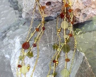 Woodland colors multi-stranded resin bead necklace