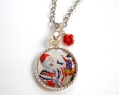 Clown Charm Necklace,  Circus Art  Pendant,  Carnival Jewelry