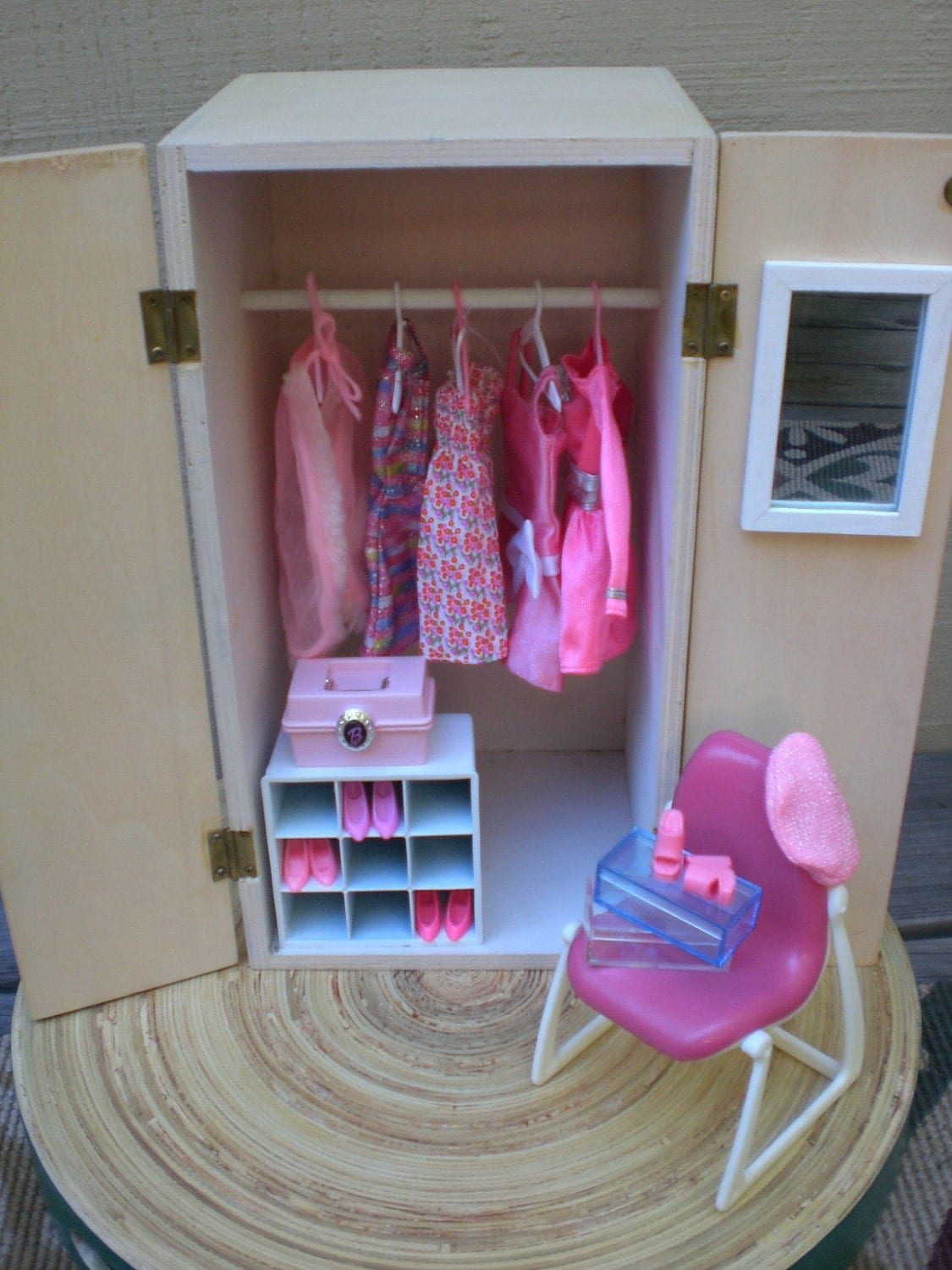 Barbie doll house pink wardrobe vignette room furniture amp