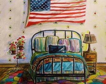 Guest Bedroom Original Watercolor Still Life Landscape JMW Portfolio Painter John Williams Expressionism