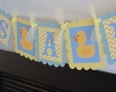 """Yellow Rubber Ducky """"It's a Girl"""" or  """"It's a Boy"""" Baby Shower Yellow Blue Chevron Banner - Ask About our Party Packs - Free Ship Over 65.00"""