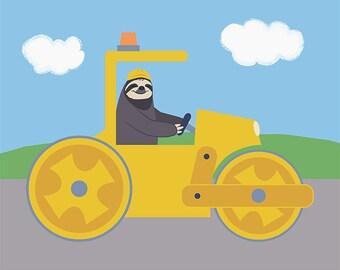 Construction Nursery Decor - Sloth Children Art Print - Steamroller