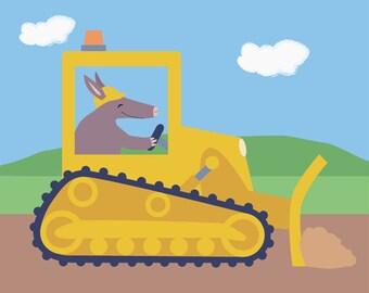 Construction Children's Art Print - Aardvark in Bulldozer Nursery Art