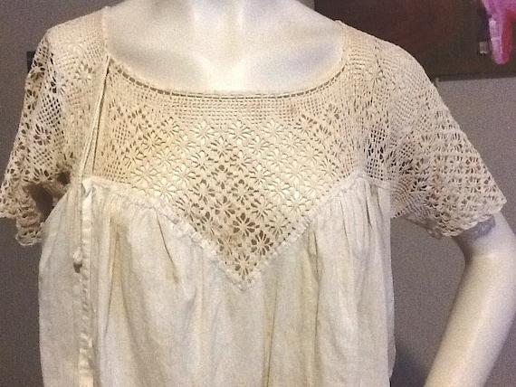 Vintage Crochet Lace Yoke Corset Cover Antique Victorian Shirt Blouse Lingerie Undergarment  Steampunk Edwardian Handmade Ecru